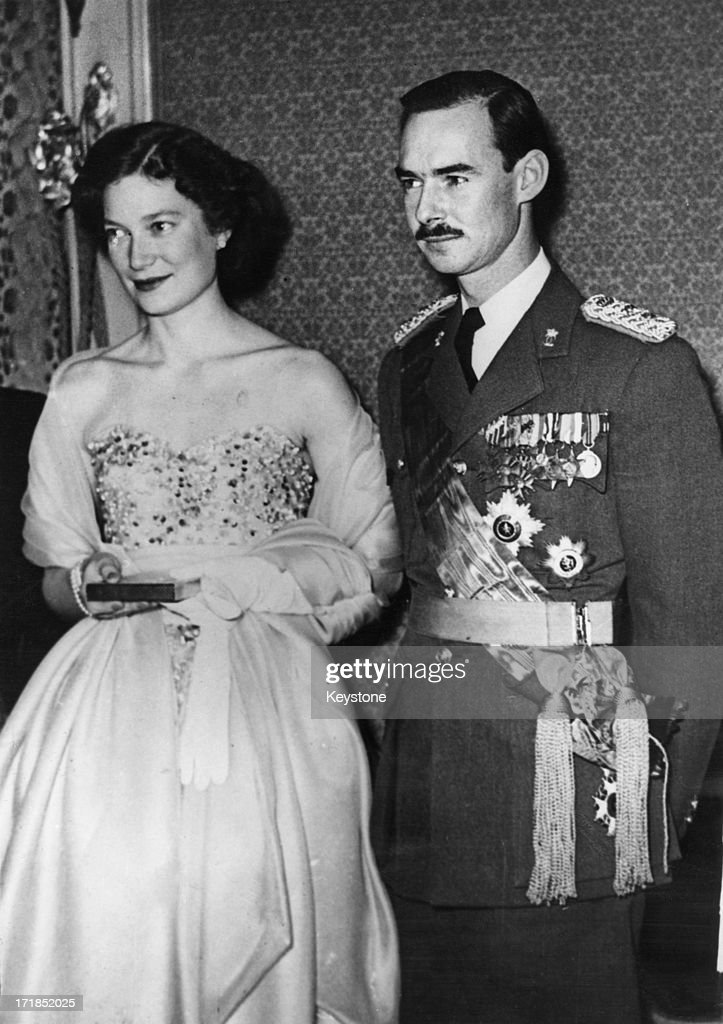 Princess Josephine-Charlotte of Belgium (1927 - 2005) with her fiance, Grand Duke Jean of Luxembourg, attend a fete in Brussels, 21st January 1953.