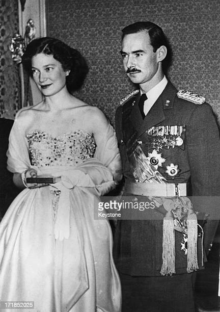 Princess JosephineCharlotte of Belgium with her fiance Grand Duke Jean of Luxembourg attend a fete in Brussels 21st January 1953
