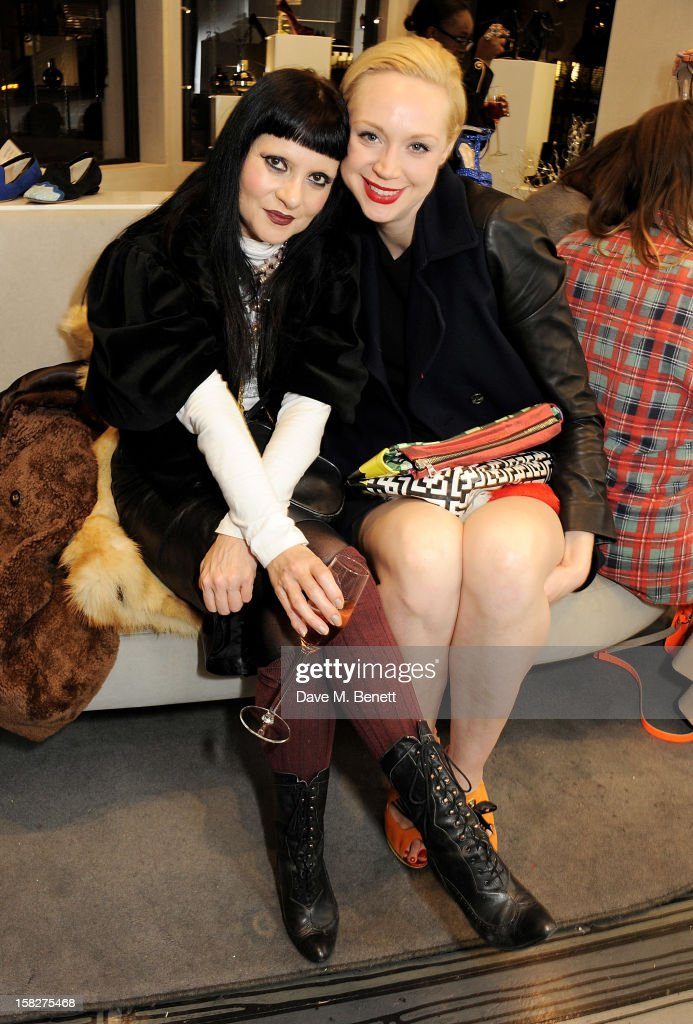 Princess Julia (L) and Gwendoline Christie attend a Christmas drinks hosted by designer Nicholas Kirkwood to celebrate his partnership with Chambord black raspberry liquer, and launch the limited edition shoe 'The Chambord' at the Nicholas Kirkwood Mount Street store on December 12, 2012 in London, England.