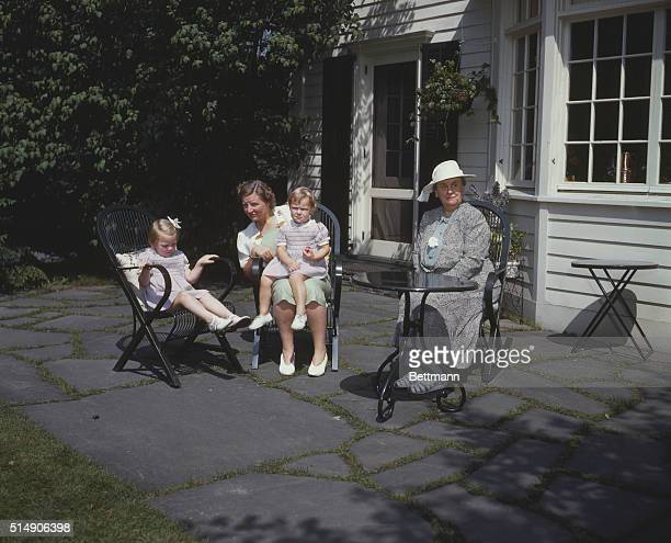 Princess Juliana Holland with mother Queen Wilhelmina and two of her children UPI color slide
