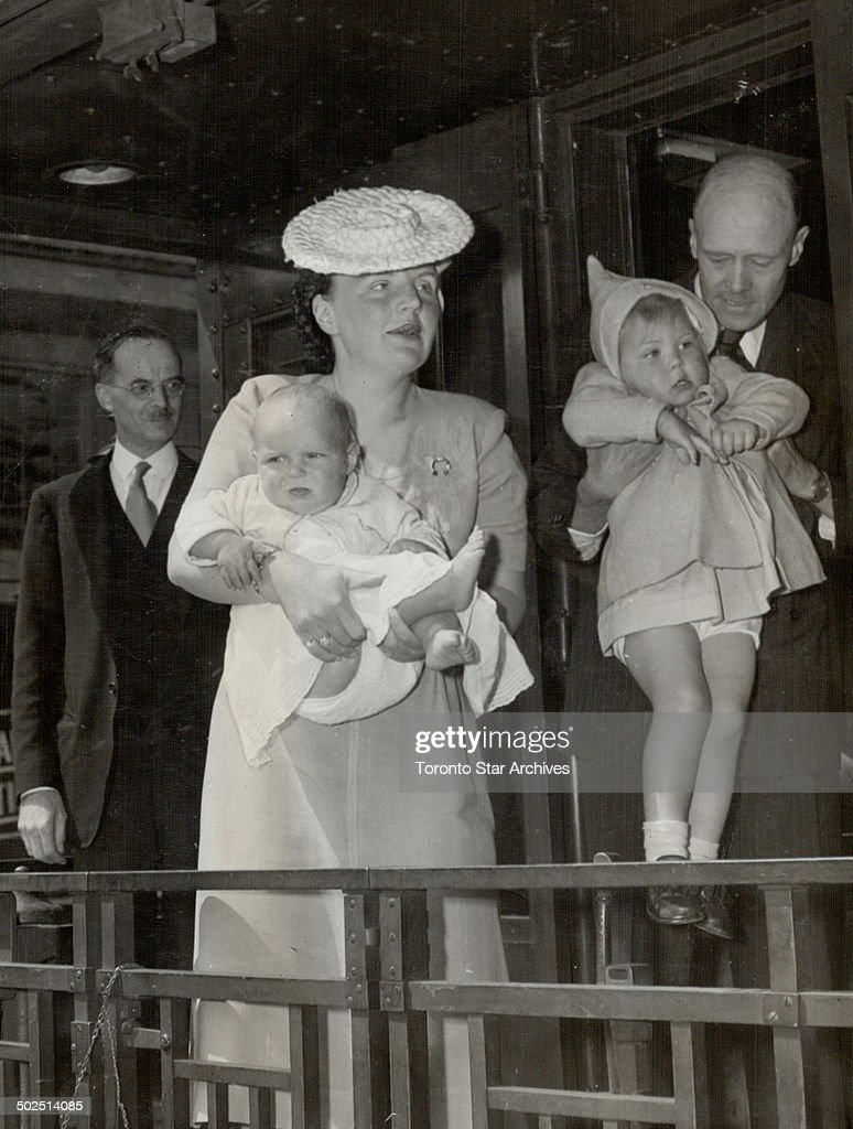 Princess Juliana of Holland has found a haven in Canada for herself and her two daughters; Beatrix; 2 1/2; and Irene nine months. Here they are leaving Halifax for the Seigniory Club