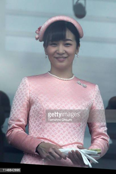 Princess Kako is seen as Japan's Emperor Naruhito addresses to members of the public from the balcony of the Imperial Palace on May 04 2019 in Tokyo...