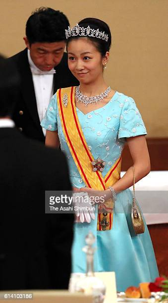 Princess Kako of Akishino attends the state dinner in honour of King Philippe and Queen Mathilde of Belgium at the Imperial Palace on October 11 2016...
