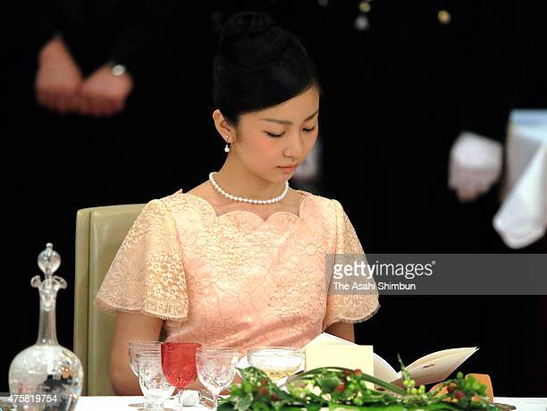 Princess Kako of Akishino attends the state dinner inviting Philippine President Benigno Aquino at the Imperial Palace on June 3 2015 in Tokyo Japan