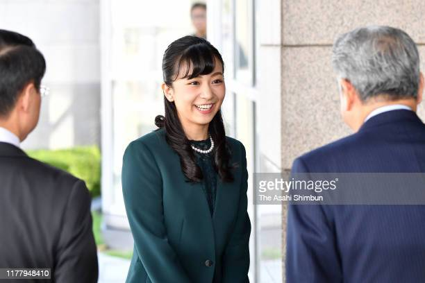 Princess Kako of Akishino is seen on arrival at the opening ceremony of a high school finger language contest on September 29, 2019 in Tottori, Japan.