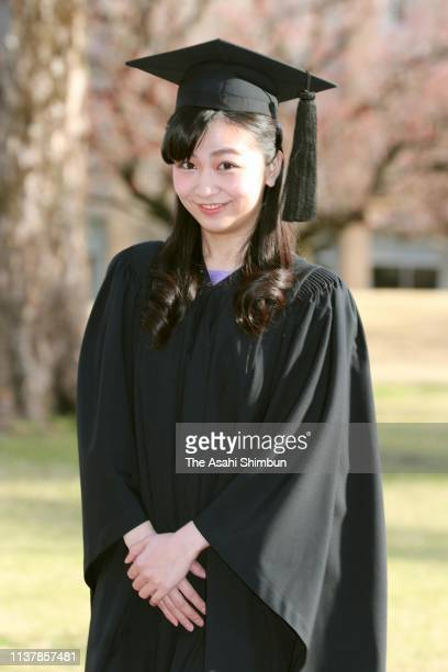 Princess Kako of Akishino poses for photographs prior to attend the graduation ceremony of the International Christian University on March 22, 2019...