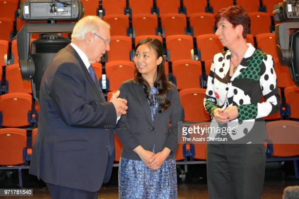 Princess Kako of Akishino talks with University of Leeds Vice-Chancellor Alan Langlands and Head of School of Performance and Cultural Industries...