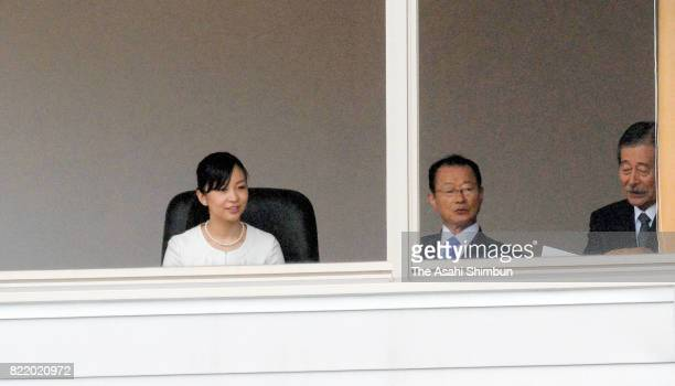 Princess Kako of Akishino watches the 51st All Japan High School Equestrian Championships at the Gotemba City Equestrian Sports Center on July 25...