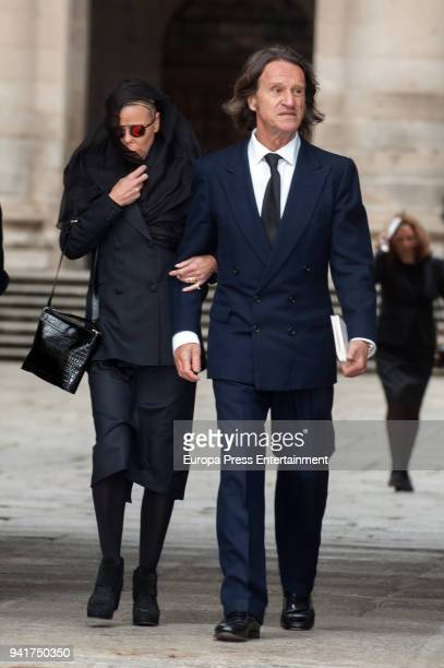 Princess Kalina of Bulgaria and husband Kitin Munoz attend the mass for Count of Barcelona's 25th Anniversary's Death at the monastery of El Escorial...