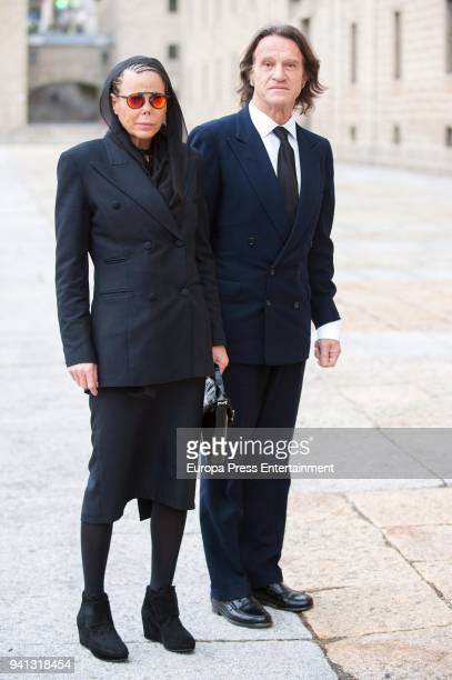 Princess Kalina of Bulgaria her husband Kitin Munoz attend the the mass to mark the 25th Anniversary of the Count of Barcelona's death the monastery...