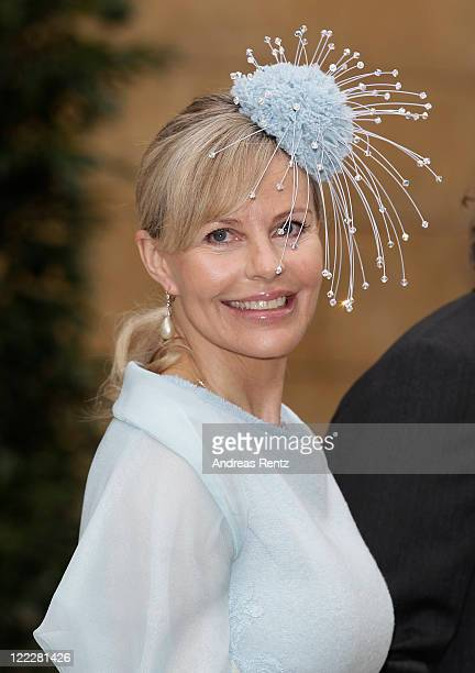 Princess Katharina Nina von Hohenzollern attend the religious wedding ceremony of Georg Friedrich Ferdinand Prince of Prussia to Princess Sophie of...