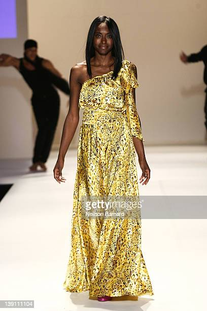 Princess Keisha Omilana of Nigeria walks the runway at the Code Purple fall 2012 fashion show rehearsal during MercedesBenz Fashion Week on the...