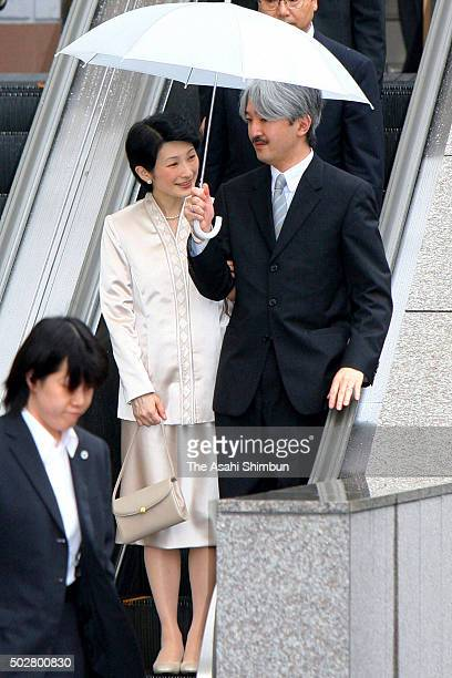 Princess Kiko and Prince Akishino attend a wedding party of Shu Kawashima young brother of Kiko at Gakushikaikan on July 2 2006 in Tokyo Japan