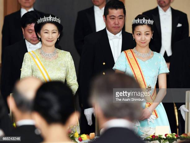 Princess Kiko and Princess Kako of Akishino attend the state dinner for King Felipe VI and Queen Letizia of Spain at the Imperial Palace on April 5...