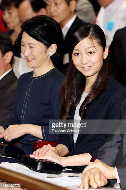 Princess Kiko of Akishino and her second daughter Kako attend a high school finger language contest at Yurakucho Asahi Hall on August 29 2015 in...
