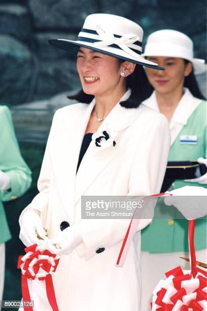 Princess Kiko of Akishino attends the opening ceremony of the Hakkeijima Sea Paradise on May 8 1993 in Yokohama Kanagawa Japan