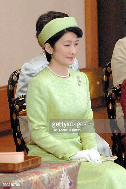 Princess Kiko of Akishino attends the 'UtakaiHajimenoGi' New Year's Poetry Reading ceremony at the Imperial Palace on January 12 2006 in Tokyo Japan