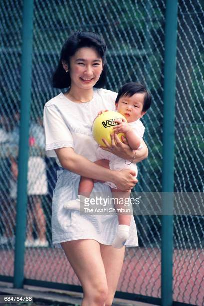 Princess Kiko of Akishino holding her daughter Princess Mako on August 7 1992 in Karuizawa Nagano Japan