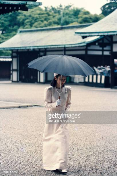 Princess Kiko of Akishino is seen after praying in front of the Kashikodokoro as a part of the wedding of Crown Prince Naruhito and Masako Owada at...