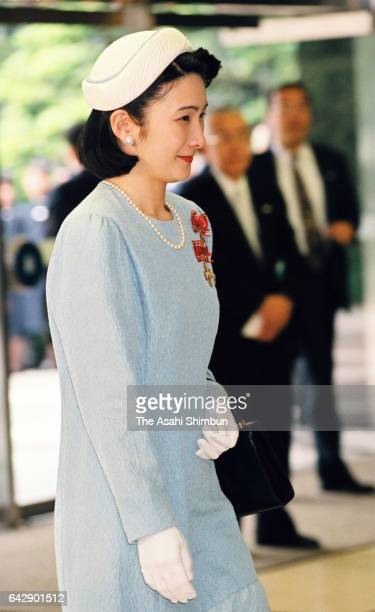 Princess Kiko of Akishino is seen on arrival at Meiji Jingu Kaikan to attend the Japan Red Cross Society annual meeting on May 13 1998 in Tokyo Japan
