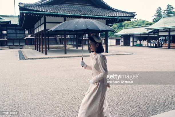 Princess Kiko of Akishino is seen prior to the royal wedding at the Imperial Palace on June 9 1993 in Tokyo Japan