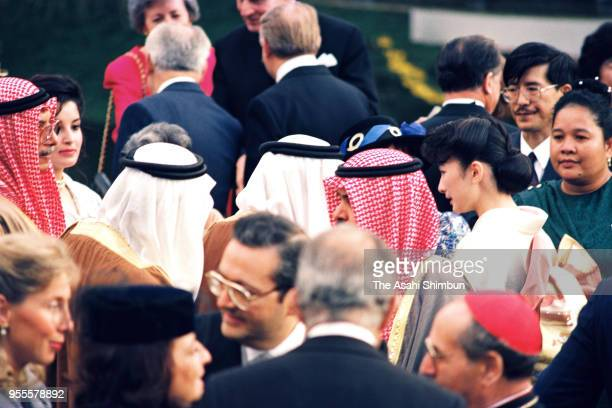 Princess Kiko of Akishino talks with guests during the garden party celebrating Emperor Akihito's Enthronement at the Akasaka Imperial Garden on...