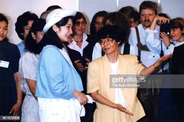 Princess Kiko of Akishino talks with participants at the World Congress of the World Federation of the Deaf at Keio Plaza Hotel on July 9 1991 in...