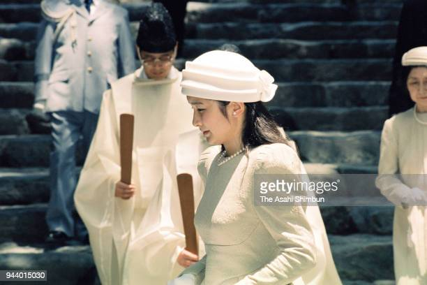 Princess Kiko of Akishino visits Ise Shrine on July 6 1990 in Ise Mie Japan