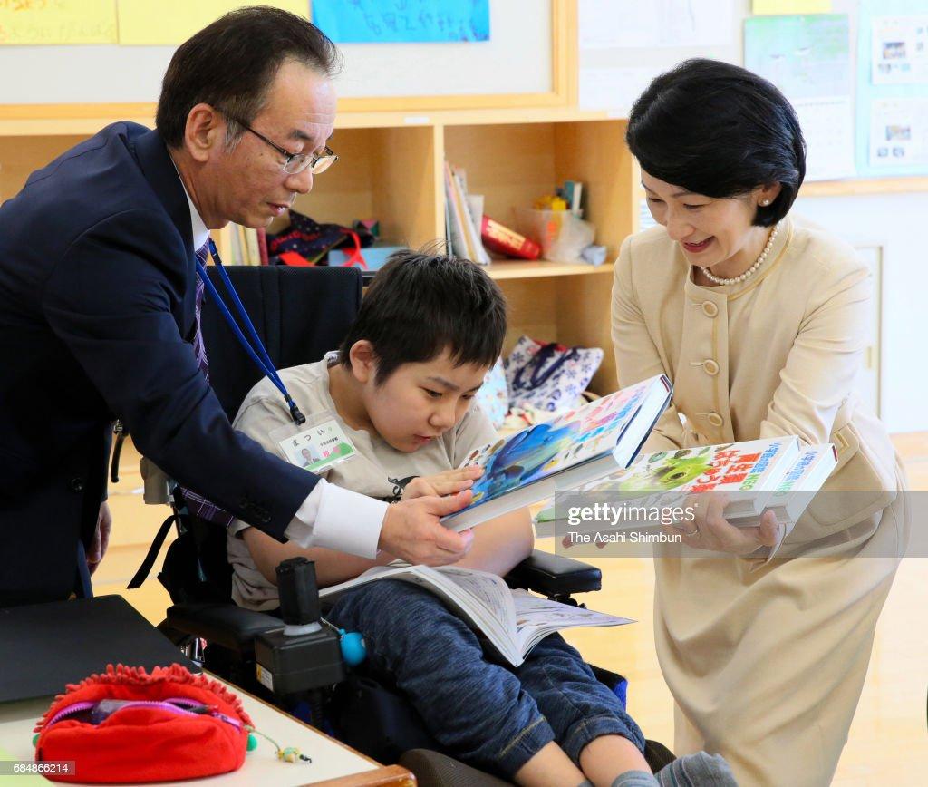 Princess Kiko of Akishino visits the Hokkaido Children General Medical Care and Treatment And Education Center on May 18, 2017 in Sapporo, Hokkaido, Japan.
