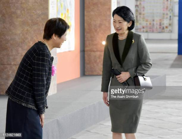 Princess Kiko of Akishino visits the Tokyo International Great Quilt Festival at the Tokyo Dome on January 24 2019 in Tokyo Japan