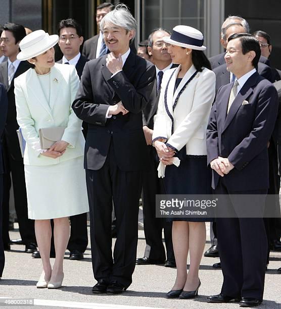 Princess Kiko Prince Akishino Crown Princess Masako and Crown Prince naruhito are seen to see off Emperor Akihito and Empress Michiko at Haneda...