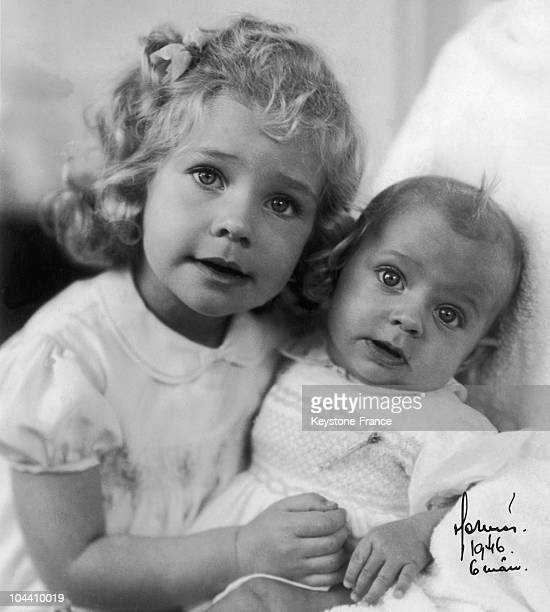 Princess KRISTINA of Sweden posing along with her tiny younger brother Crown Prince CARL GUSTAV of Sweden aged 6 months