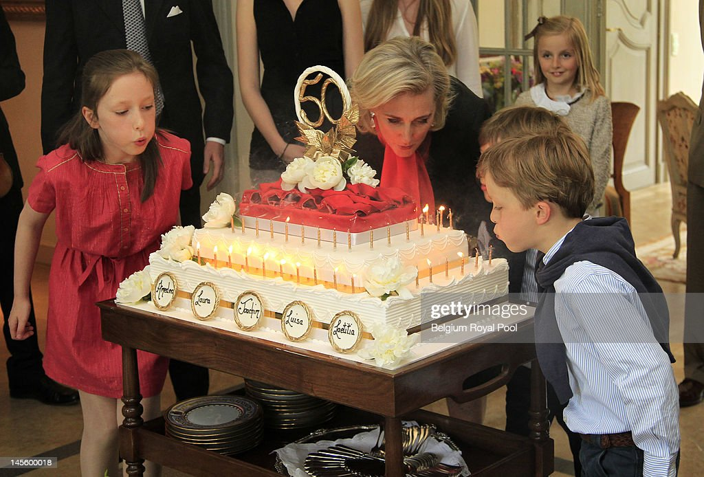 Princess Laetitia Maria, Princess Astrid and Prince Aymeric of Belgium assist Princess Astrid's 50th birthday at Schonenberg Residence on June 2, 2012 in Brussels, Belgium.