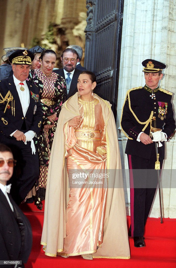 Princess Lalla Hasnaa of Morocco leaving St Michel Ste Gudule Cathedral.