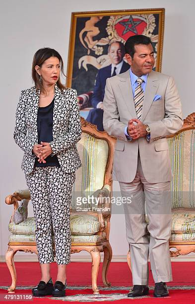 Princess Lalla Meryem and HRH Prince Moulay Rachid look on during the final round of the Trophee Hassan II Golf at Golf du Palais Royal on March 16...