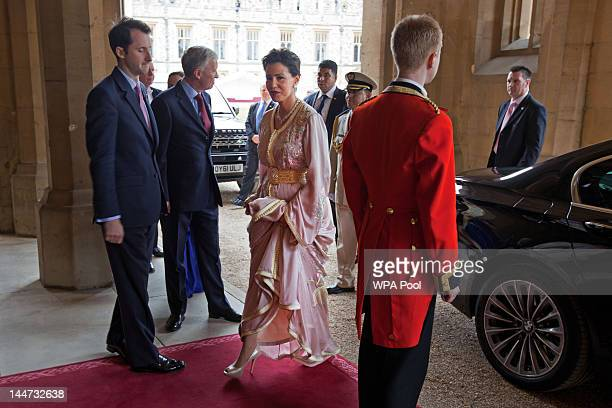 Princess Lalla Meryem of Morocco arrives at a lunch For Sovereign Monarchs in honour of Queen Elizabeth II's Diamond Jubilee at Windsor Castle on May...