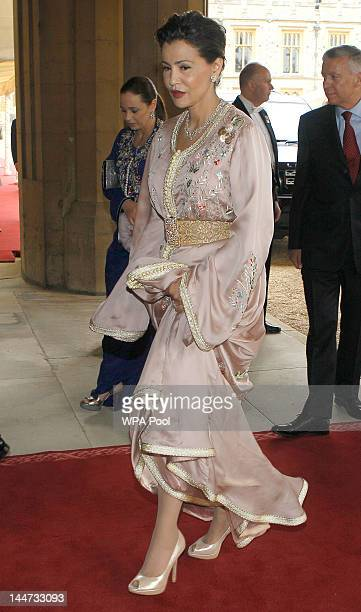 Princess Lalla Meryem of Morocco arrives for a lunch for Sovereign Monarchs in honour of Queen Elizabeth II's Diamond Jubilee at Windsor Castle on...