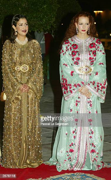 Princess Lalla Salma and Princess Lalla Meriam attend a dinner marking a state visit by French President Jacques Chirac at the Royal Palace October 9...