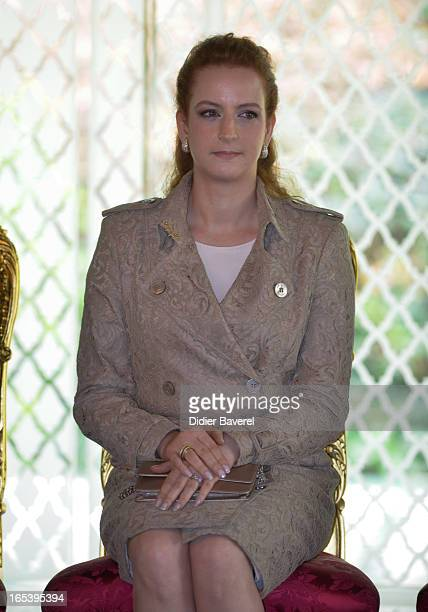 Princess Lalla Salma attends the welcome ceremony of President Francois Hollande at Casablanca palace on April 3 2013 in Casablanca Morocco