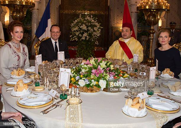 Princess Lalla Salma, French President Francois Hollande, Morocco's King Mohammed VI and Valerie Trierweiler attend the State diner at the King's...
