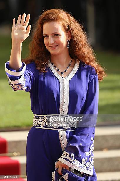 Princess Lalla Salma of Maroc emerges from the Catedral following the wedding ceremony of Prince Guillaume Of Luxembourg and Princess Stephanie of...