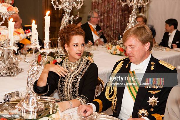 Princess Lalla Salma of Morocco and Prince Willem Alexander of the Netherlands attend the Gala dinner for the wedding of Prince Guillaume of...