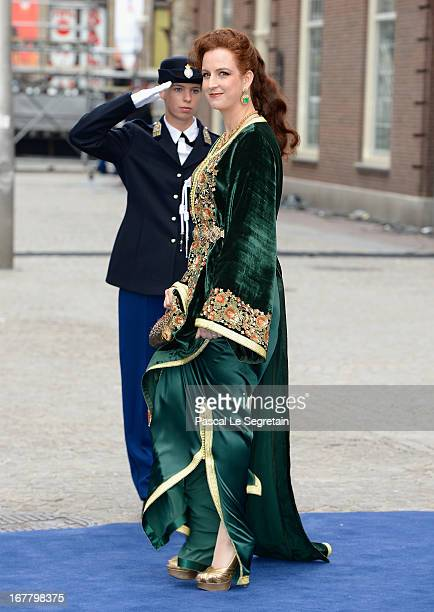 Princess Lalla Salma of Morocco departs the Nieuwe Kerk to return to the Royal Palace after the abdication of Queen Beatrix of the Netherlands and...