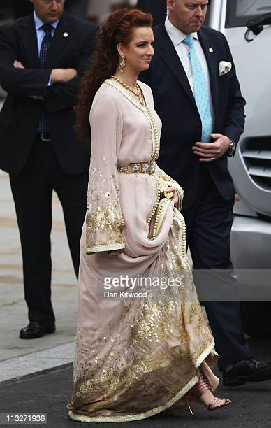 Princess Lalla Salma of Morocco leaves the Abbey following the marriage of Their Royal Highnesses Prince William Duke of Cambridge and Catherine...