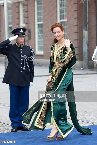 Princess Lalla Salma of Morocco leaves the Nieuwe Kerk in Amsterdam after the inauguration ceremony of King Willem Alexander of the Netherlands on...