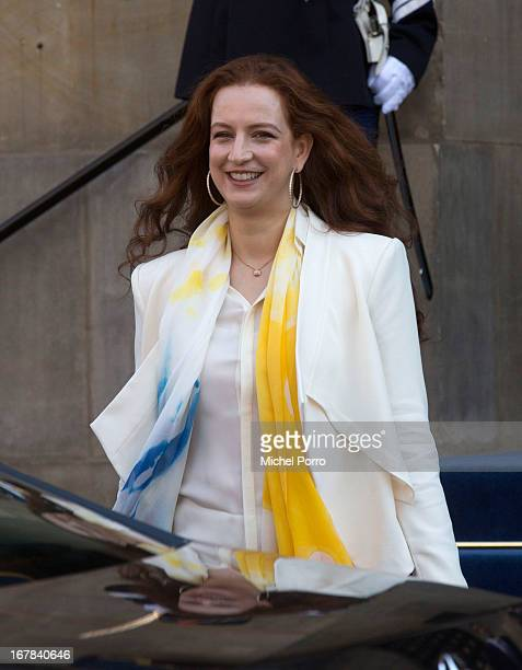 Princess Lalla Salma of Morocco leaves the Royal Palace after brunch with King Willem Alexander and Queen Maxima of The Netherlands on May 1 2013 in...