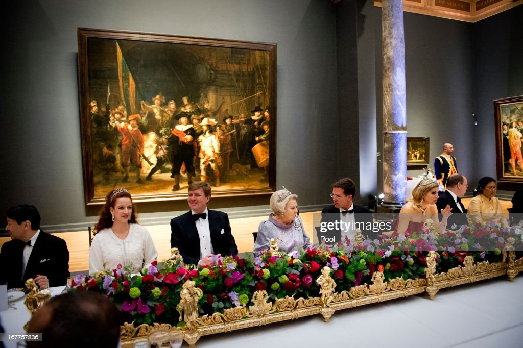 Princess Lalla Salma of Morocco, Prince Willem-Alexander of the Netherlands, Queen Beatrix of the Netherlands, Dutch Prime Minister Mark Rutte, Princess Maxima of the Netherlands and Prince Albert II of Monaco attend a dinner hosted by Queen Beatrix of The Netherlands ahead of her abdication at Rijksmuseum on April 29, 2013 in Amsterdam, Netherlands.