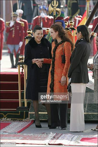 Princess Lalla Salma with sisters of the King in black Princess Lalla Meryem in Marrakech Morocco on January 17 2005