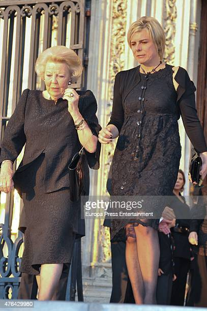Princess Laurentian of the Netherlands and Princess Beatrix of the Netherlands attend the memorial service for Prince Kardam of Bulgaria at San...