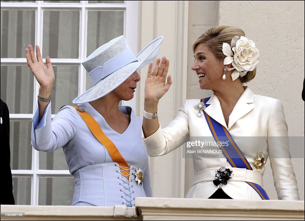 Opening ceremony of the Dutch Parliament: the Royals at the balcony of the Palace Noordeinde in La Haye, Netherlands on September 19, 2006. : News Photo